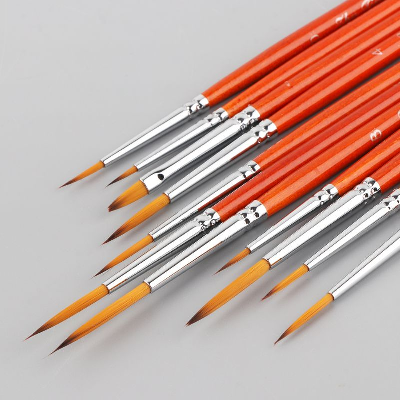 11pcs/set Professional Detail Paint Brush Fine Pointed Tip Miniature Brushes For Acrylic Watercolor Oil Drawing Kits