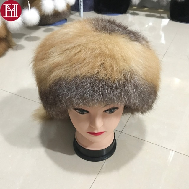 bcd145432b1b6 2017 new style luxury winter russian genuine real red fox fur hat women  warm good quality 100% natural real raccoon fur cap