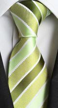 2017 Classic Design Tie 8cm Formal Green Stripe Ties for Men High Quality Gentlemen Woven Gravatas