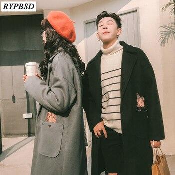 Mens Overcoats Long Wool Coat Autumn Winter New 2019 Couple Coat Men Korean Fashion High Quality Loose Long Woolen Men Jackets