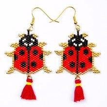 Shinus 5 Pairs/lot Miyuki Drop Earrings Beetle Insect Women Ladybug Bohemia Handmade Jewelry Fashion