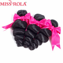 Miss Rola Hair Pre-Colored Loose Wave Bundles 100% Human Hair  Peruvian Hair Extensions Weave Hair Bundles 3 Pc Only Non Remy