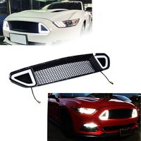 DRL LED Front Grille Hood Bumper Mesh Grill for ford mustang 2015 2017 car accessoires led light auto products Lantsun
