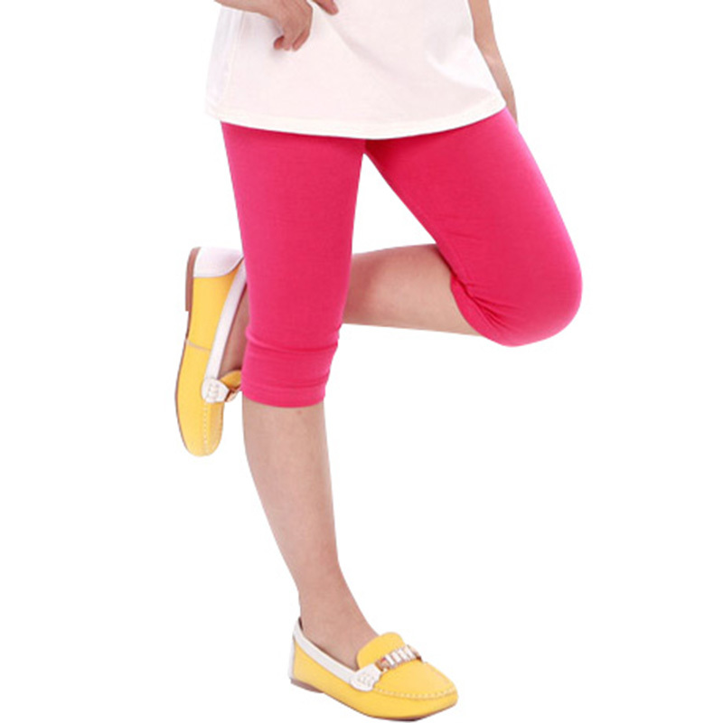 Wholesale Baby Kid Girl Candy Color Cotton Stretch Skinny Leggings Casual   Capris     Pant   2-7Y M2