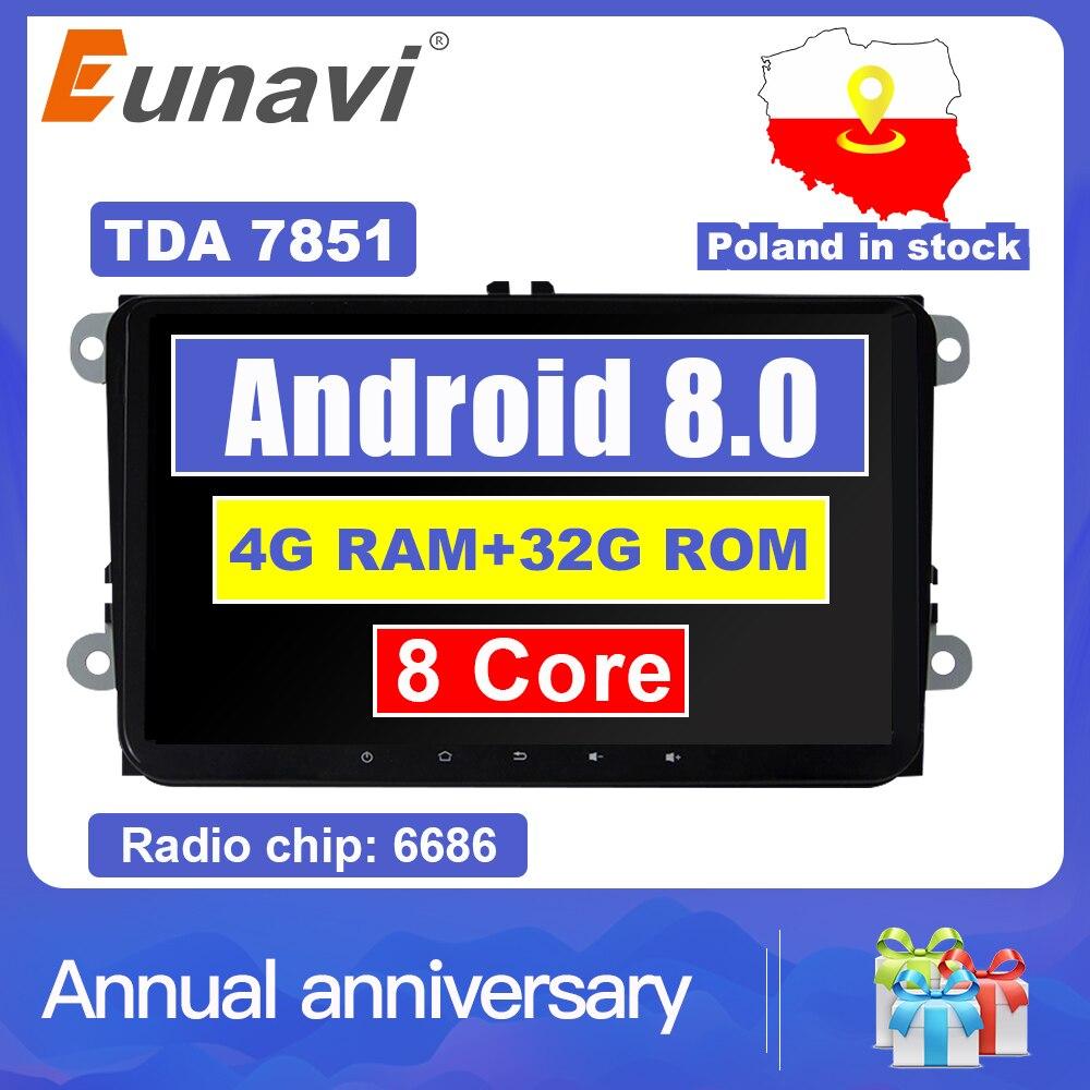 Eunavi 2 din 9 ''Android 8.0 4G RAM autoradio stéréo GPS Navi pour VW Passat B6 CC Polo DE GOLF 5 6 Touran Jetta Tiguan Magotan Siège