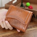2017 Genuine Leather Women Wallet Lady Short Pocket Wallet Card Holder Sunflower Hollow out Wallet Women Money Bag Dollar Price