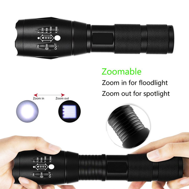 EZK20 Q250 TL360 T6 LED Handheld Tactical Flashlight Zoom Torch Light Camping Lamp for 18650 Rechargeable Battery AAA 2