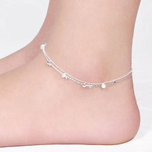 silver plated Jewelry Barefoot beads Ankle for women Link Chain Beach Anklets Bracelet & bangles Foot jewellery JL034R