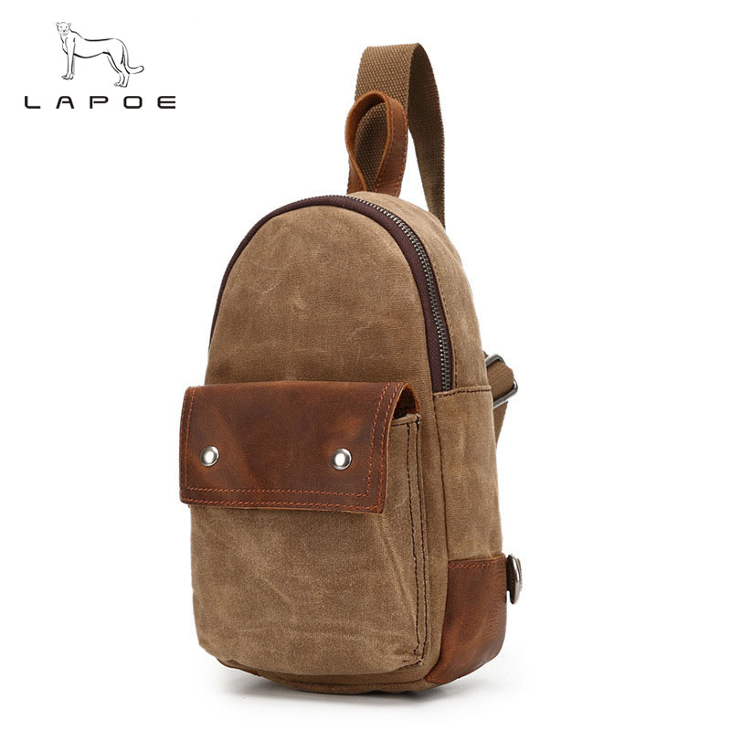 LAPOE men bag 2018 fashion men messenger bags canvas Casual travel crossbody bag chest pack Retro design waterproof high quality casual travel casual chest bags fashion vintage men messenger bags canvas male small retro shoulder bag