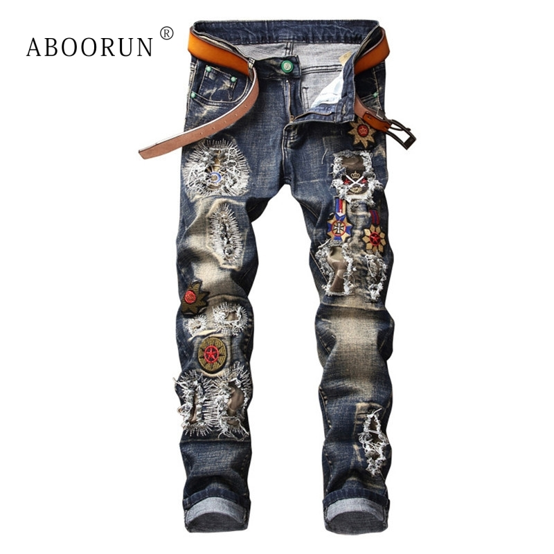 ABOORUN Punk Men's Fashion Jeans Flower Embroidery Patchwork Jeans Mens Brand Ripped Denim Pants x1401