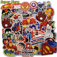 50 st Super Hero Stickers för Kids Laptop Heminredning Vinyl Dekal Bil Styling Bike Motorcykel Skateboard Leksaker Vattentät Klistermärke