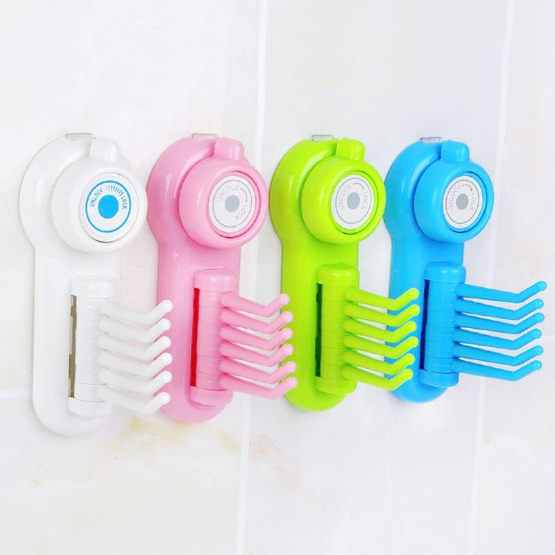 Sale 1 pc 6 Claws Multifunctional Rotatable Fixed Storage Hooks Wall Mounted Bathroom Organizer Key Hanger Clothing Racks