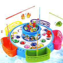 Children's Kids Fishing Board Toy Game Fish Electric Magnetic Educational Rotating  AN88 fishing game toy set music rotating board 4 fishing poles game for children yjs dropship