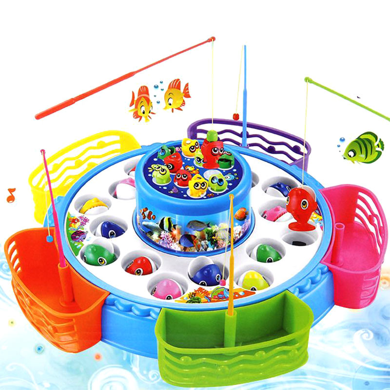 Childrens Kids Fishing Board Toy Game Fish Electric Magnetic Educational Rotating AN88