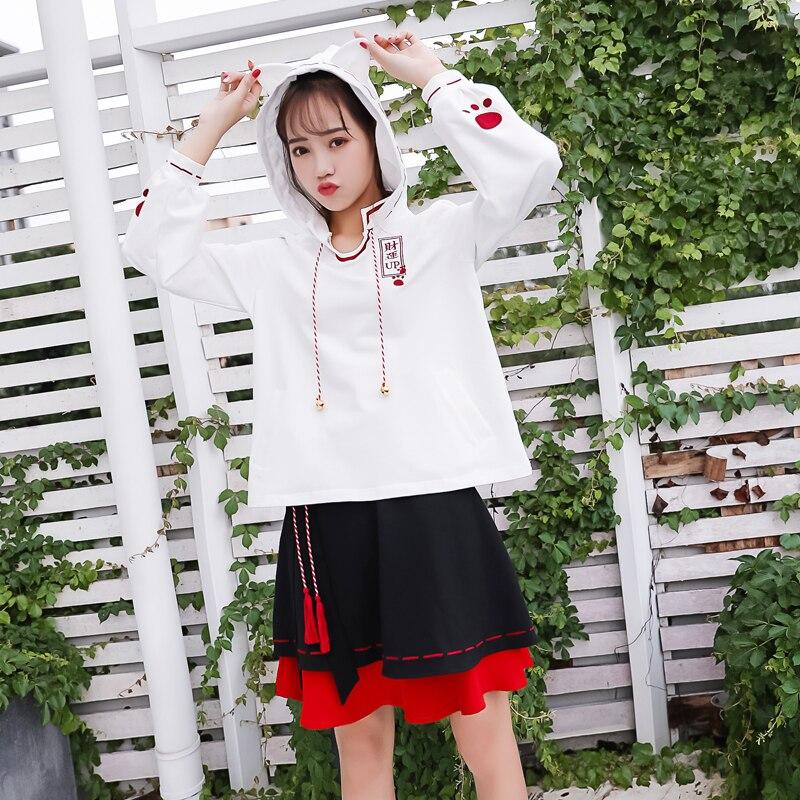 Mini 2019 Harajuku Línea Chino Bordado Japonés Falda Cintura Alta Arco Mujeres Estilo Kawaii Faldas Las Borla rojo Nuevas Negro rtqrwZS