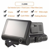 4 Inch HD 1080P 3 Len Motion Detection & Parking Monitor Dash Cam Vehicle Video Recorder with Rearview Camera