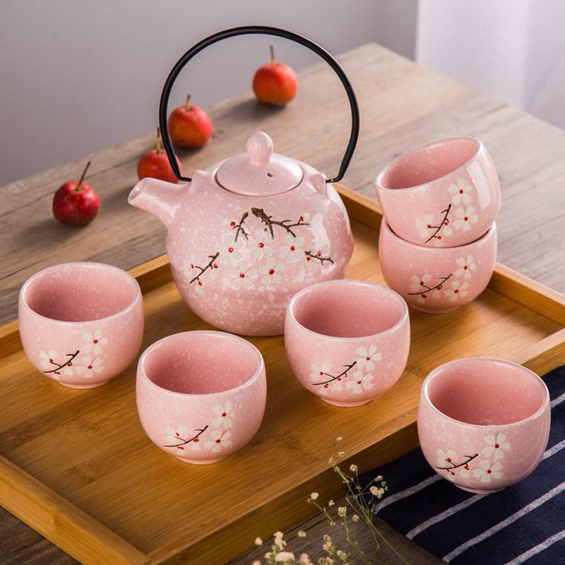 Chinease Kung Fu Tea Set 7 Pieces Set Japanese Snowflake Glaze Complete Tea Set Creative Teapot Tea Cup Set Wedding Gifts A