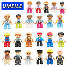 UEMIEL 1PCS Figure Block City Girl Princess Family Pirate Policeman Diy Brick Play House Baby Toys Compatible with Duplo Gift