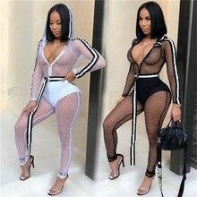 Fishing net Mesh Jumpsuits Women Long sleeve Hodded one piece Ladies See Through Skinny jumpsuits
