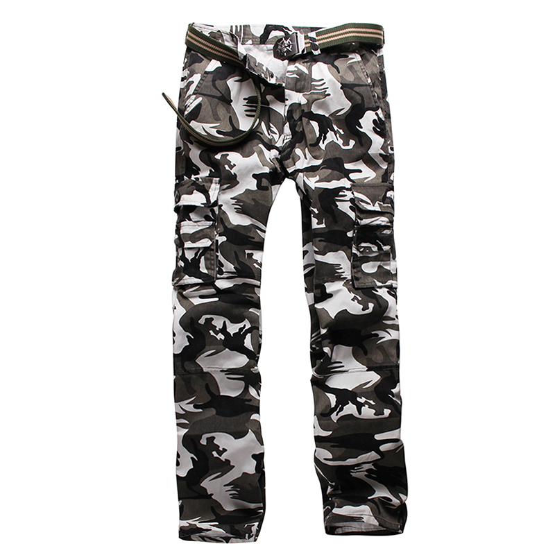 Men Camouflage Pants Military Style Trousers Camo Tactical Cargo Combat Multi-Pocket Pants Special Soldier Troops Camo Pants