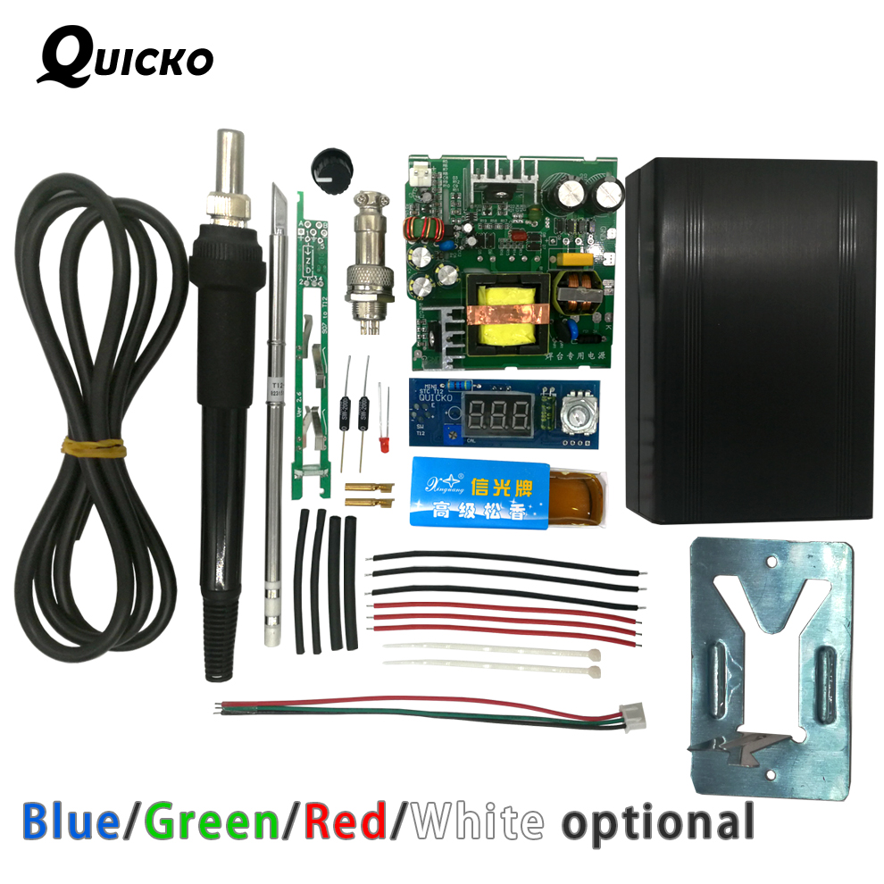 QUICKO STC T12 LED Digital Soldering Station DIY Kits Temperature Controller New Ver Use For HAKKO T12 Handle Vibration Switch