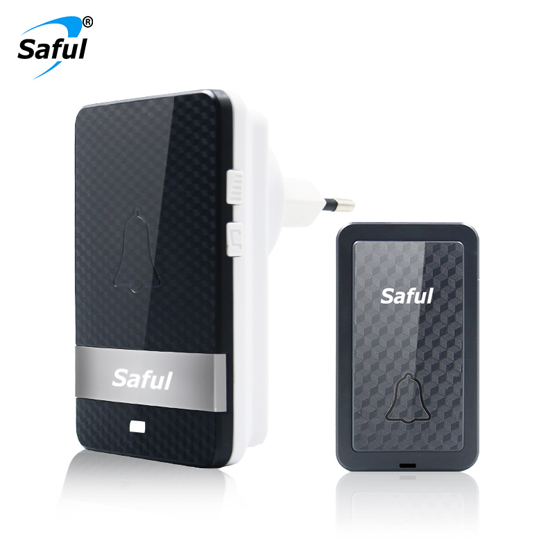 Saful Self-powered Doorbell Waterproof Wireless No Battery Long Distance 28 Melodies Outdoor Push Transmitter+Indoor Receiver
