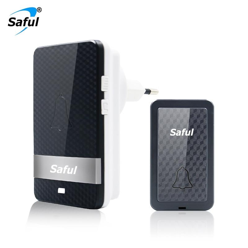 Saful Self-powered Doorbell Waterproof Wireless No Battery Long Distance 28 Melodies Outdoor Push Transmitter+Indoor Receiver