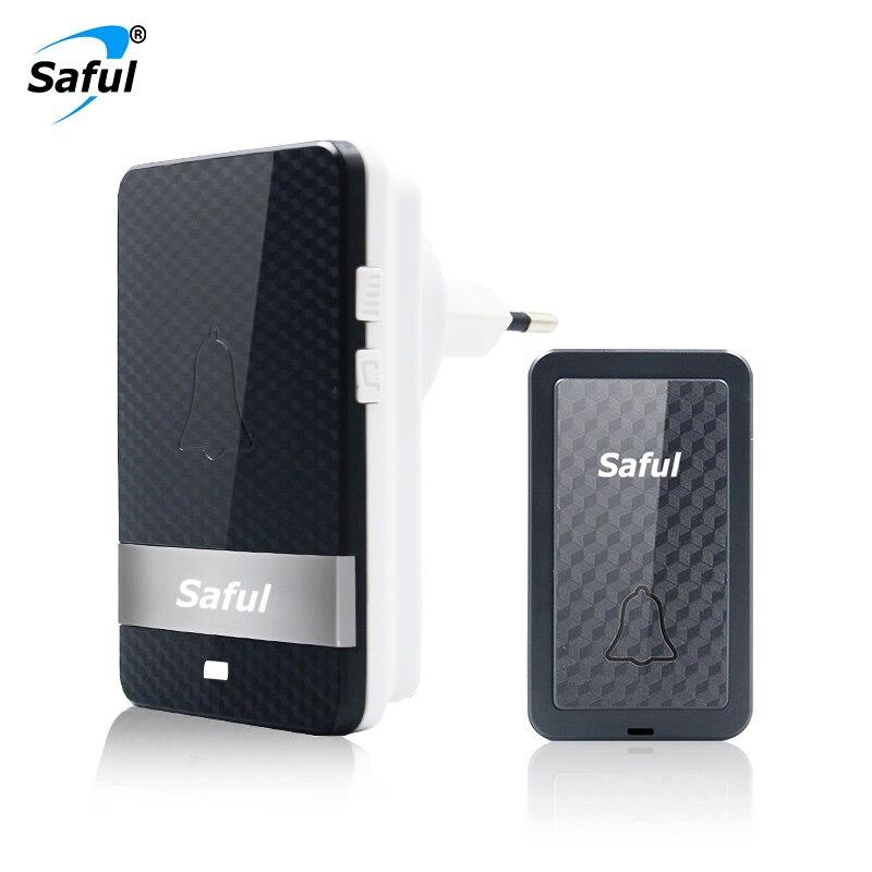Saful Self-powered Waterproof Wireless Doorbell no battery Long Distance 28 melodies Outdoor push Transmitter+Indoor Receiver saful self powered waterproof wireless