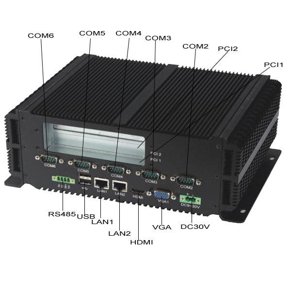 LVDS Mini Itx Fanless Box PC intel P8600 processor Dual LAN 6*RS232 COM Port industrial PC