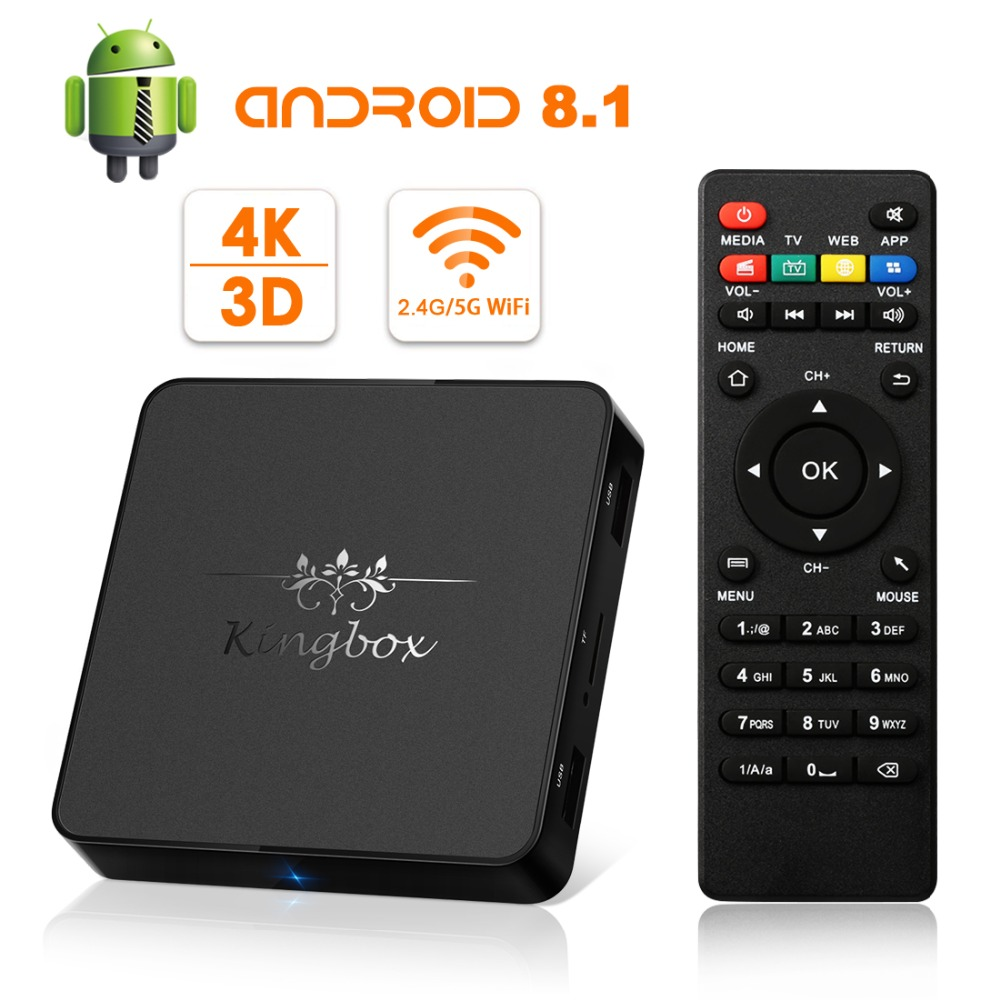 [2018 Version]Android TV Box Kingbox Model-X Android 8.1 TV Box With IR Remote Control 2.4G/5G WiFi H.265 4K*2K HD 3D Media Box