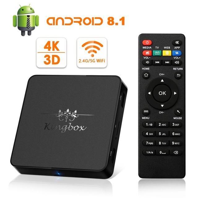 US $55 7 |[2018 Version]Android TV Box Kingbox Model X Android 8 1 TV Box  With IR Remote Control 2 4G/5G WiFi H 265 4K*2K HD 3D Media Box -in Set-top