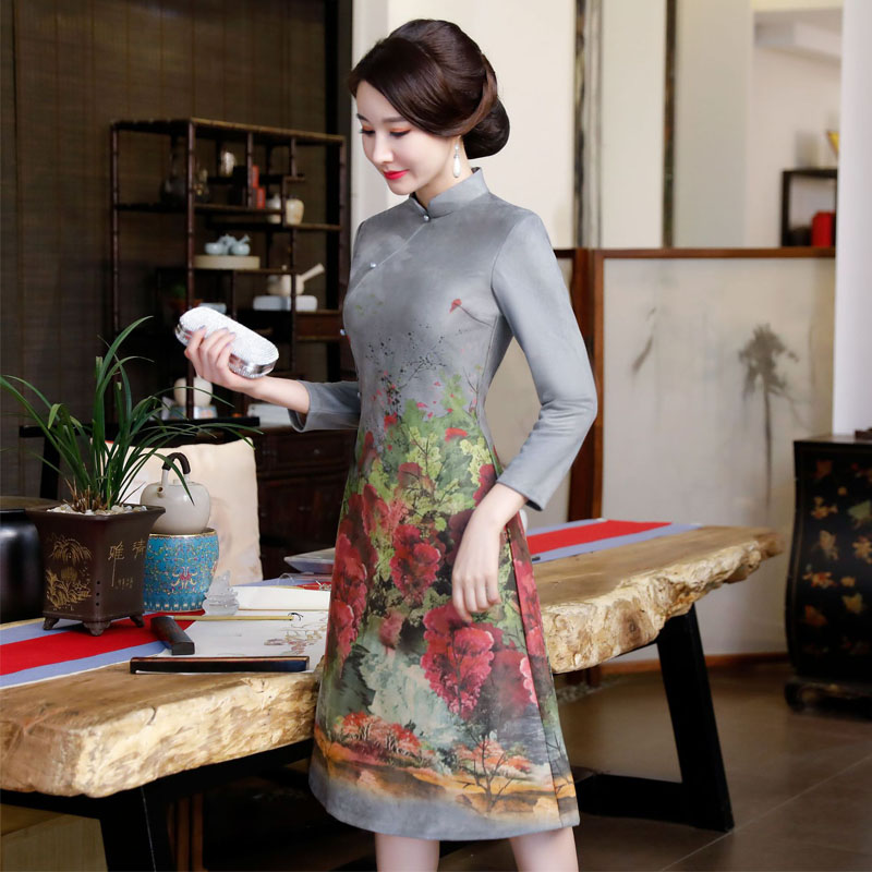 2019 Hot Sale Cheongsam Traditional Chinese High Quality Chinese Ladies Qipao Silm long Sleeve classical Long Dress M-3XL