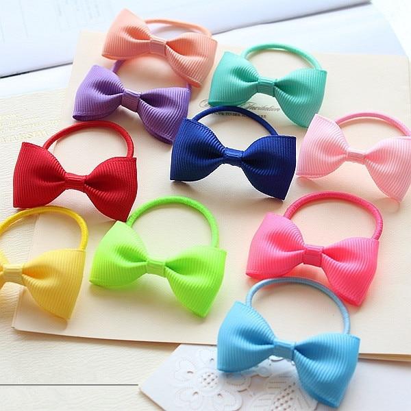 cute satin ribbon bow baby girls newborn elastic hair rubber bands ring for  children hair ties e0f16b2710f