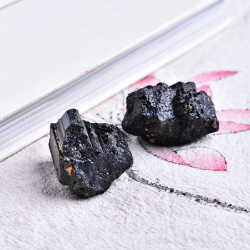 2pc natural black tourmaline tourmaline repair ore can be used for home decoration  DIY gift cokkection free shipping 1