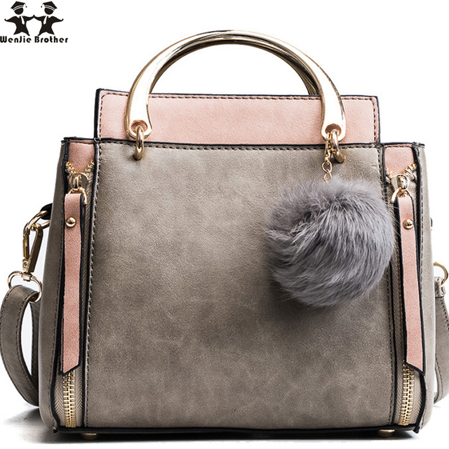 d388b3782367 wenjie brother 2018 new matte female bag hair ball pendant bucket bag  personality hit color shoulder