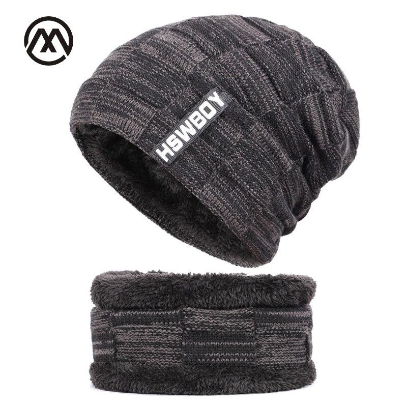 2018 Winter   Beanies   Men Scarf Knitted Hat Caps Mask Gorras Bonnet Warm Baggy Winter Hats For Men Women   Skullies     Beanies   Hats