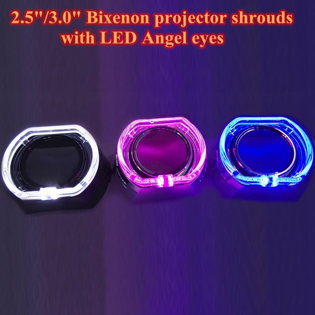 2pcs Square COB Angel Eyes Integrated Bezel X5-R Shrouds For 3 Inches WST Hella Kioto Bi xenon Projector Lens led day running