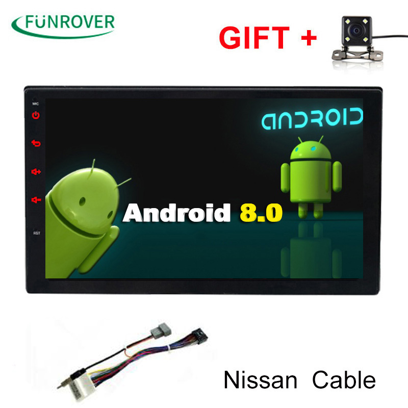 Funrover 2g+32g 2Din Android8.0 Car Dvd For Nissan Qashqai X-trail Almera Pathfinder Teana Note Juke Multimedia Gps Player Real