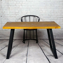 American retro wood wrought iron work study desk simple training to do the old long office