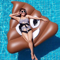 New style cartoon fecal floatation environmental protection PVC water adult super thick water floating bed large swimming circle