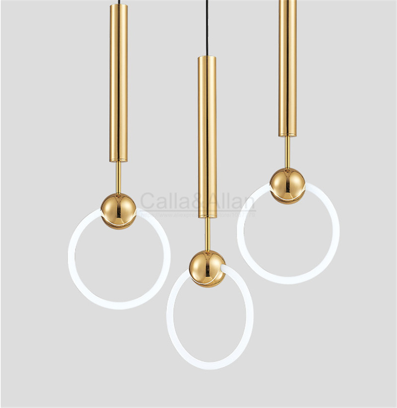 D300mm Modern simple Lee Broom Ring LED pendant light gold metal fixture circle suspension hanging indoor light shop decoration