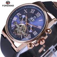 Forsining Rose Golden Bezel Tourbillion Mechanical Mens Watch High Quality Silicone Band Male Automatic Watches Top