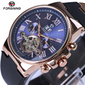 Forsining Rose Golden Bezel Tourbillion Mechanical Mens Watch High Quality Silicone Band Male Automatic Watches Top Brand Luxury