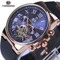 Forsining rose bisel de oro tourbillion mecánico reloj para hombre de alta calidad de banda de silicona hombres automáticos relojes de lujo superior de la marca