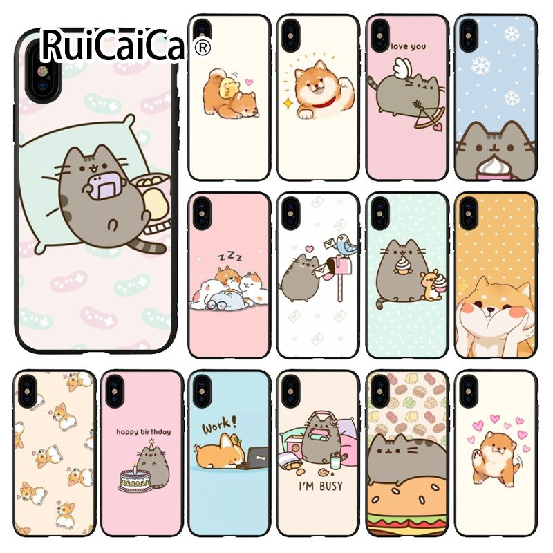 Ruicaica <font><b>Kawaii</b></font> Molang Cartoon Anime dog cat Black TPU <font><b>Phone</b></font> Cover for <font><b>iPhone</b></font> 8 <font><b>7</b></font> 6 6S Plus 5 5S SE XR X XS MAX Coque Shell image