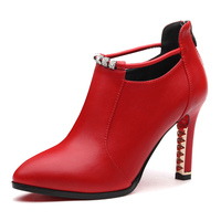 Spring Female Shoes Thin High Heels Red Wedding Genuine Leather Leisure Women Pumps Comfortable Handmade Shoes YG B0063