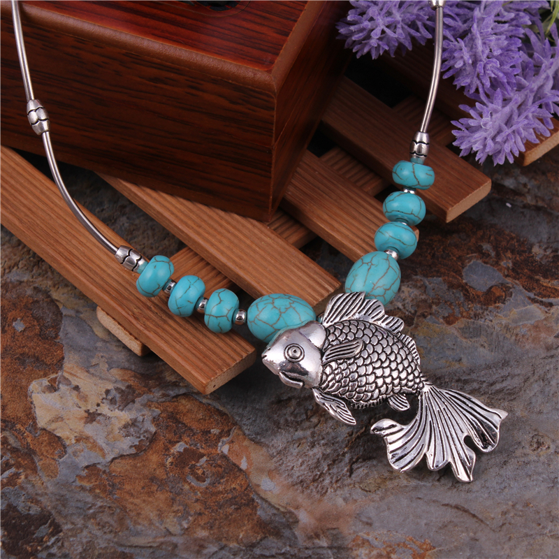 Brand New Statement Jewelry Vintage Tibetan Silver Color Chain Stone Necklaces Alloy Fish Pisces Necklaces & Pendants For Women