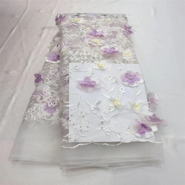 African Lace Fabric 2018 High Quality Lace Pink Bridal Lace Fabric With Beads embroidery Tulle Mesh Lace Fabric Nigerian  F06-2