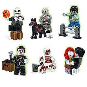 Image 5 - Halloween Mini zabawka rysunek dyniowa głowa duch Moster Fighter bezgłowy jeździec wampir Zombie klocki do budowy