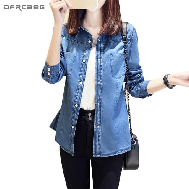 4d916e562ab62 Casual Women Tops Fashion Long Sleeve Denim Shirt Pockets Solid Jeans  Blouses Vintage Cotton Ladies Shirts Blue Chemise Femme